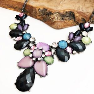New York & Company navy purple statement necklace